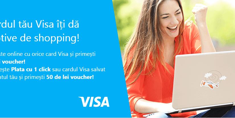 Plătești cu VISA la eMAG și primești un voucher de 50lei