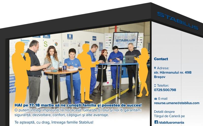 Compania brașoveană STABILUS organizează cel mai mare târg de carieră chiar încompanie.